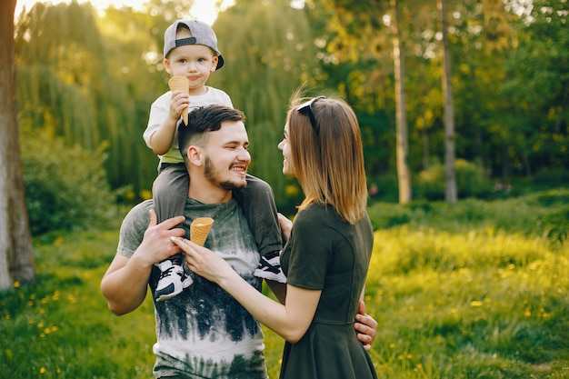 Cute family in a park