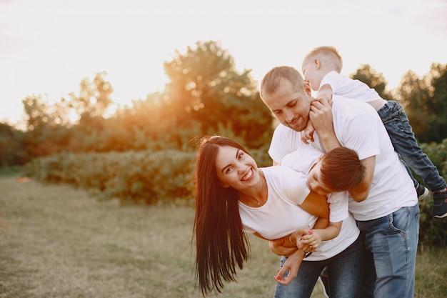 Милая семья играет на летнем поле