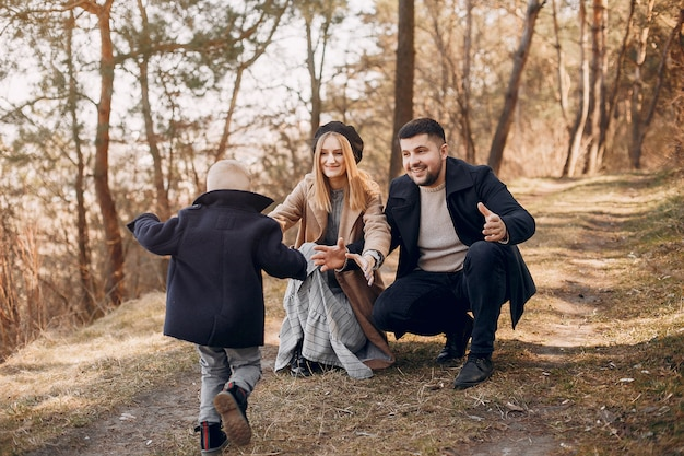 Cute family playing in a park