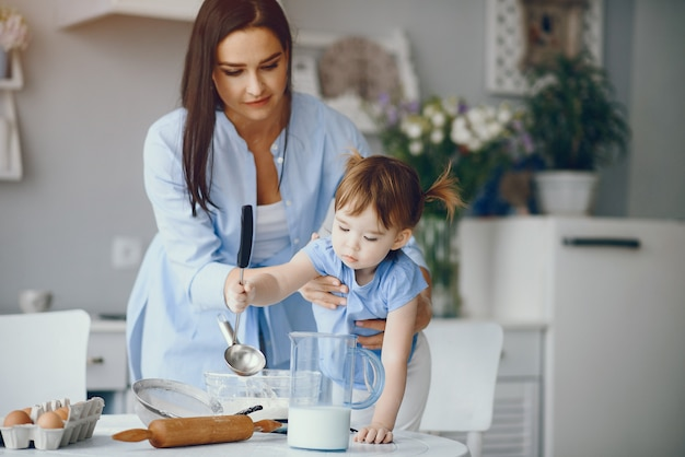 Cute family prepare the breakfest in a kitchen