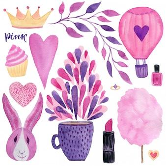 Cute fashion watercolor set.