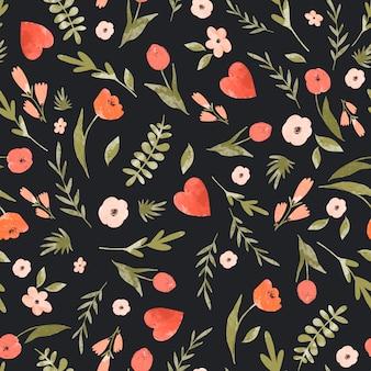 귀여운 꽃 마음 완벽 한 패턴입니다.