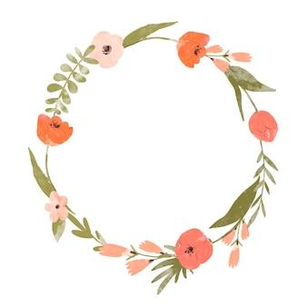 귀여운 꽃 화환, 라운드 프레임