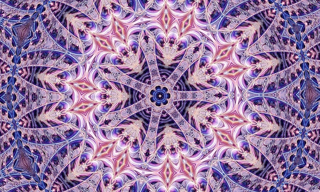 Cute flower kaleidoscope portrait with purple blue and white colors