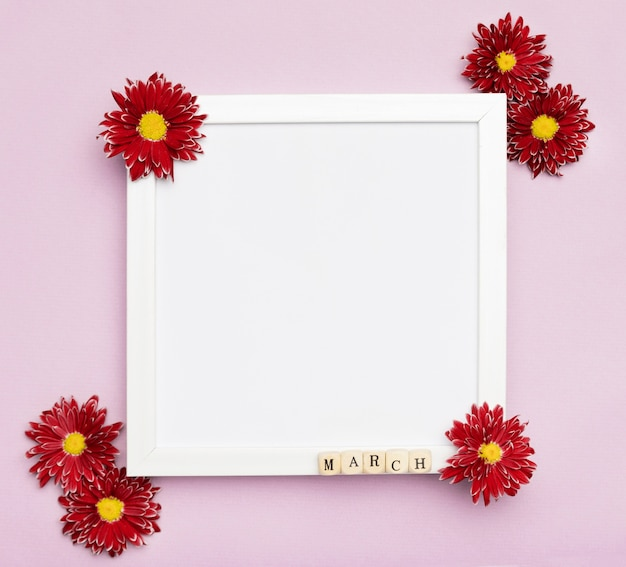 Cute flowers and elegant white frame