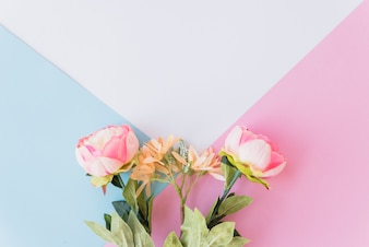 Cute flowers on multicolored background