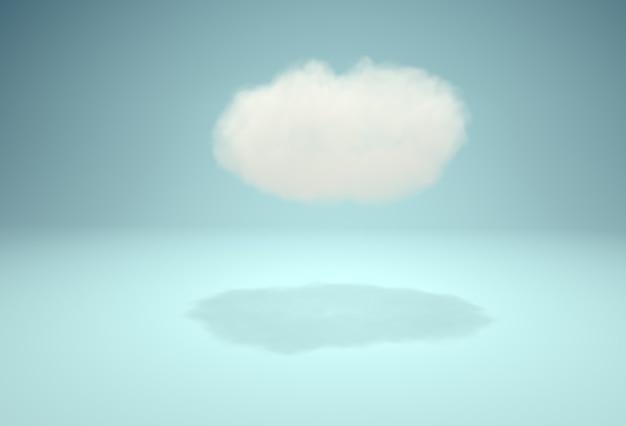 青い背景上のスタジオでかわいいふわふわ雲