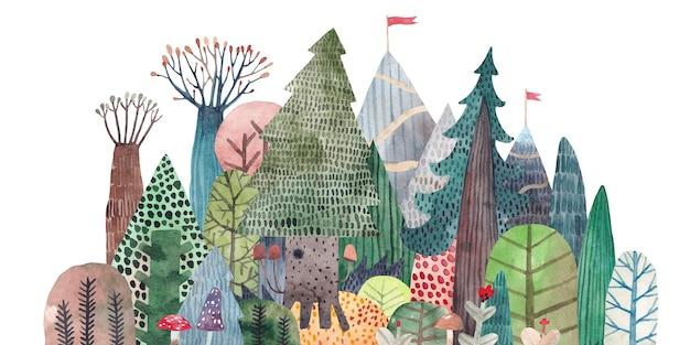 Милый лес на фоне гор. горная тропа. акварельные иллюстрации леса.