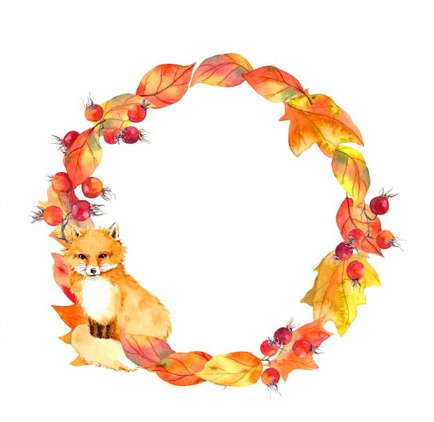Cute fox in autumn leaves and berries. autumn wreath. watercolor circle border