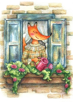 Cute fox in a dress watering a watering can with flowers on a windowsill.