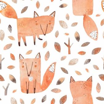 Симпатичные лисы. детские акварельные иллюстрации с лисой в осеннем лесу.