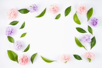 Cute frame with flowers and leafs