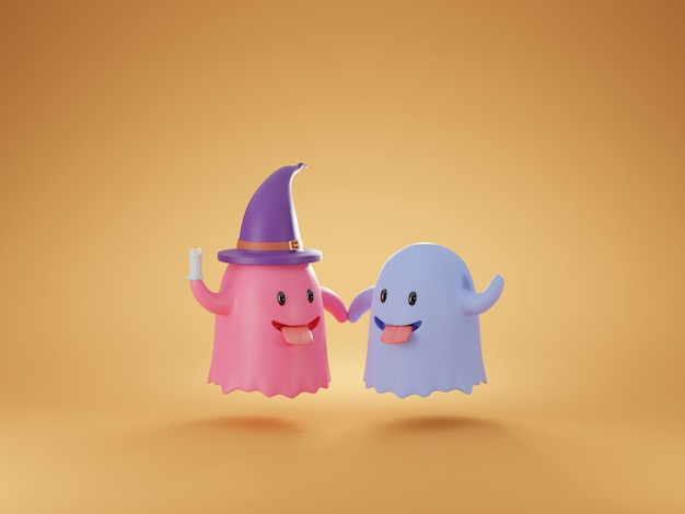 Cute friendly ghost cartoon 3d rendering.