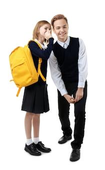 흰색 바탕에 교복을 입은 귀여운 소녀와 소년
