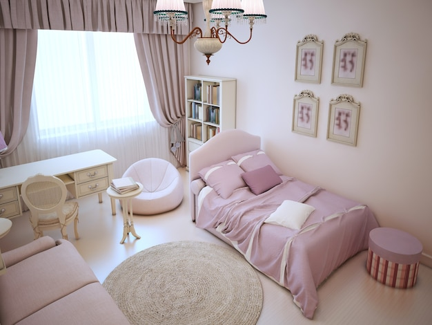 Cute girl bedroom with soft furniture in pink colors