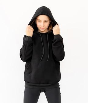 Cute girl in black hood
