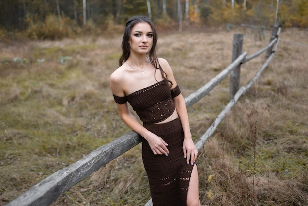 Cute girl in a brown dress stands near old wooden fence and looks away