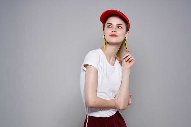 Cute girl fashion clothes summer style yellow earrings makeup