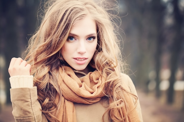 Cute girl fashion model outdoors