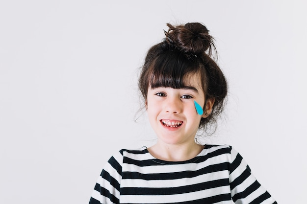 Cute girl laughing and crying