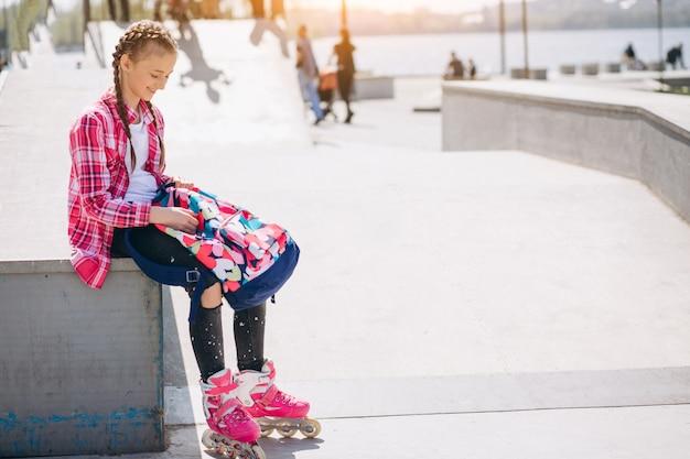 Cute girl roller skating