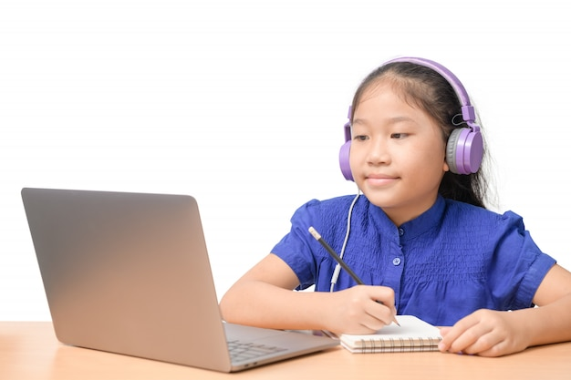 Cute girl student wear headphone study online with teacher isolated