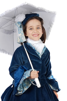 Cute girl with antique clothes over white background