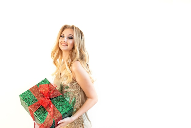 Cute girl with gift box