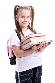 Cute girl with schoolbag