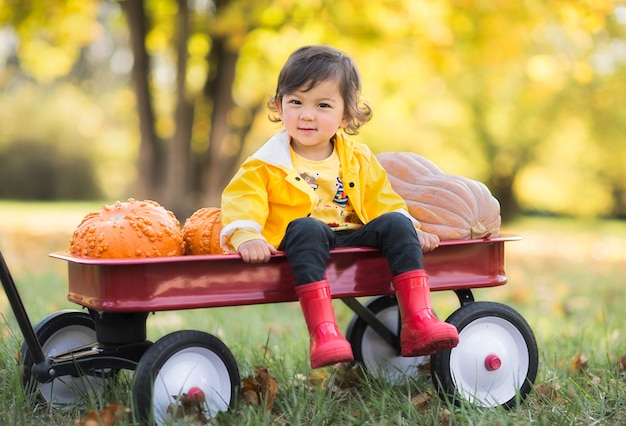 Cute girl in a yellow raincoat, red rubber boots in the autumn park sitting at the red trolley
