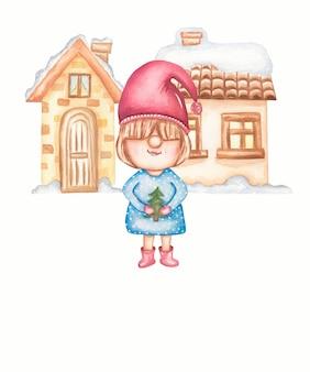 Милый гномик с уютным домиком