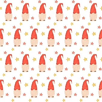 Cute gnomes seamless pattern, christmas gnomes