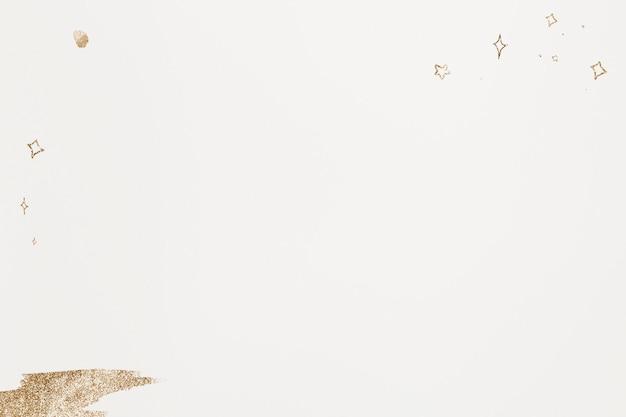 ベージュの背景にメタリックかわいい金色の星