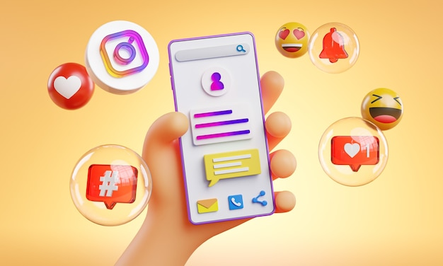 Cute hand holding phone instagram icons around 3d rendering