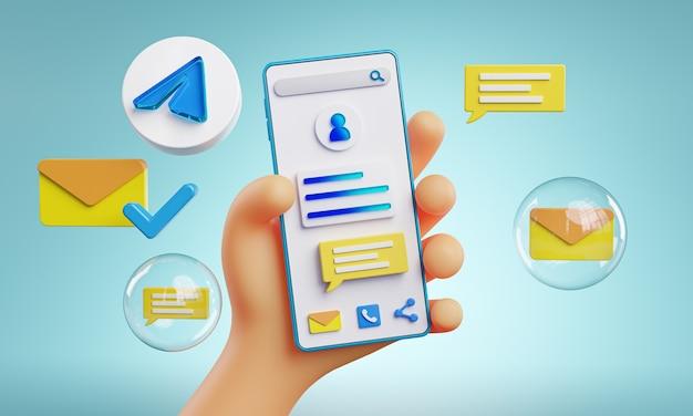 Cute hand holding phone telegram icons around 3d rendering