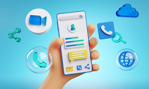 Cute hand holding phone zoom icons around 3d rendering
