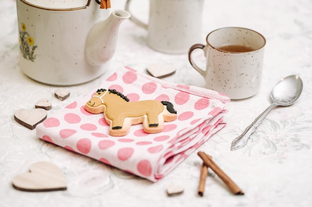 Cute hand made cookies in a shape of animals