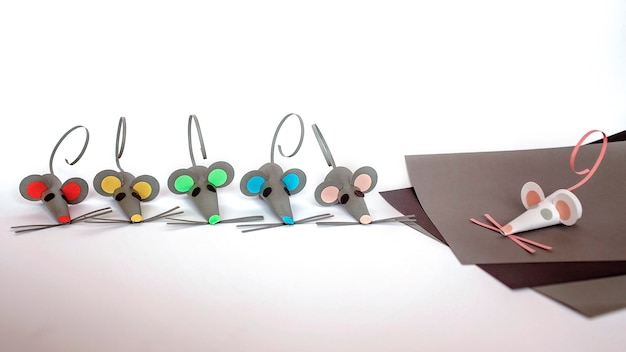 Cute handcrafted mice with colored paper