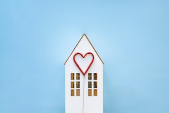 Cute heart on toy house