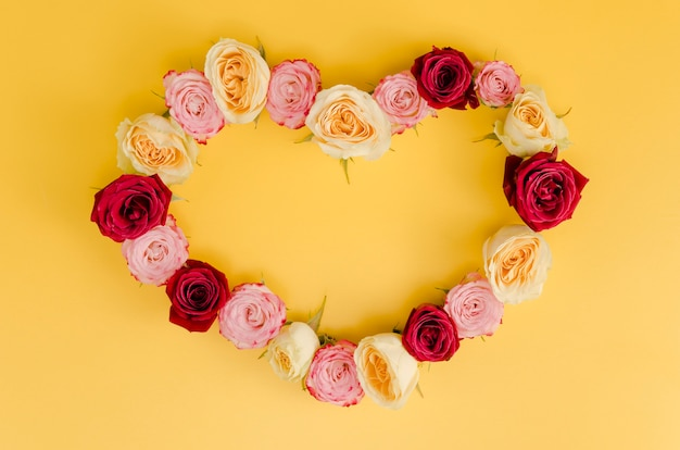 Cute heart rose frame top view