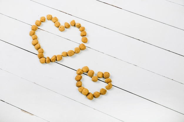 Cute hearts from pet food