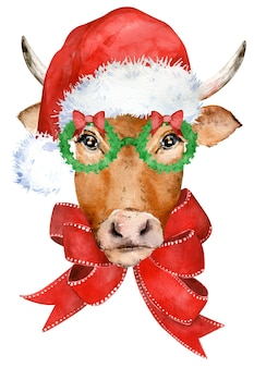 Cute horned brown cow with red bow, in glasses and santa's hat.