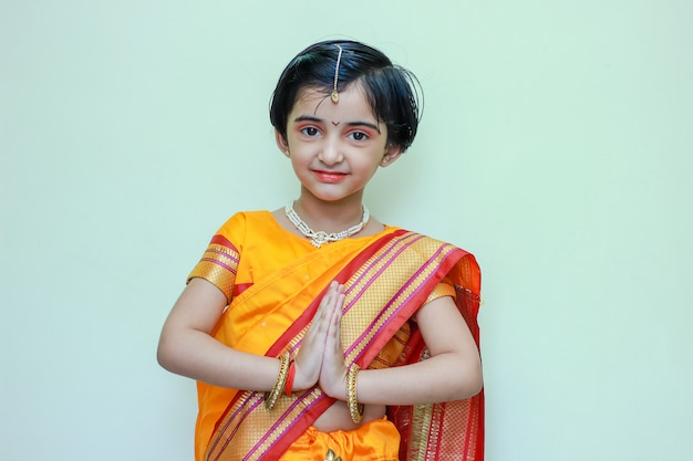Cute indian little girl on traditional wear