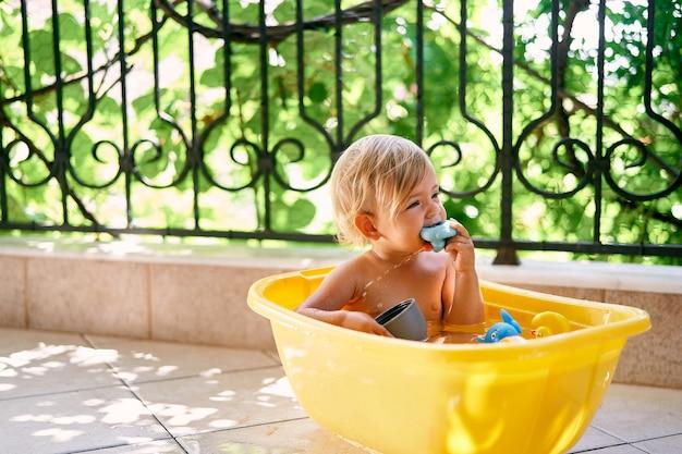 귀여운 아이는 대야에 앉아서 장난감을 갉아 먹습니다.