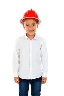 Cute kid with red helmet