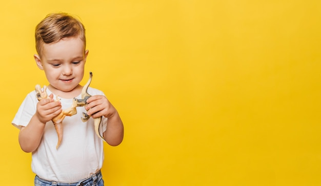 Cute laughing little boy on a yellow background with a dinosaur toy in his hands.
