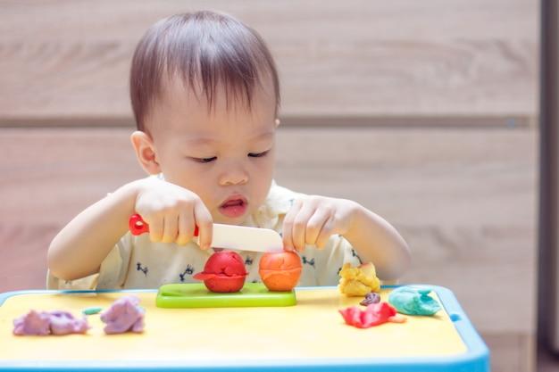 かわいい小さなアジアの18ヶ月の幼児の男の子の子供が遊び遊びを楽しんでいます