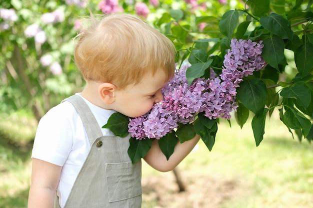봄철 꽃이 만발한 정원에서 라일락 꽃 덤불을 즐기는 귀여운 금발 머리 소년. 계절 아이 알레르기.