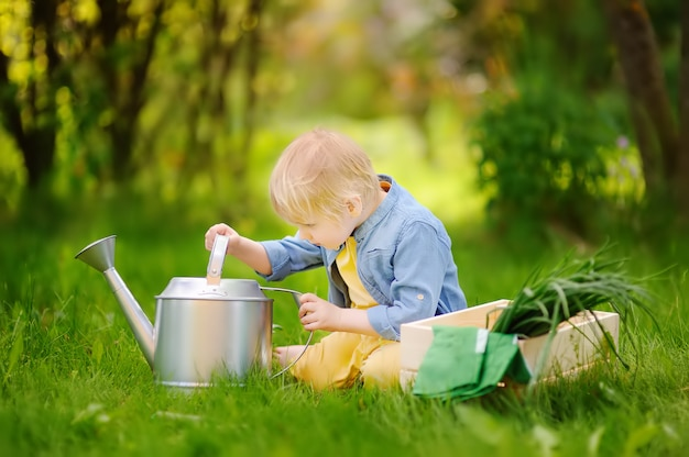 Cute little boy holding watering can in the domestic garden at summer day