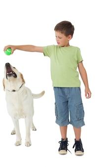 彼のラブラドールでボールを遊んでいるかわいい少年